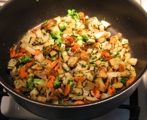 Fried Potatoes With Vegetables Leftover Baked Potato